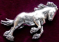 Pewter Shire Clydesdale Heavy Horse Brooch Pin : Signed