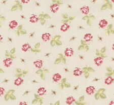 CLEARANCE!  Cottage Shabby Chic Lecien Hill Farm Taupe Fabric Tossed Roses BTY