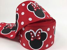 BTY 3 Inch Disney Red Minnie Mouse Grosgrain Ribbon Hair Bow Lisa