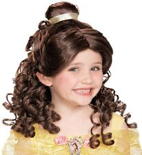 Belle Wig Childs Girls Disney Princess Long Curly Brown Brunette Hair