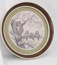 """Vintage """"Raccoon Family"""" John E. Bradley-Signed/Matted/Framed-13"""" Round"""