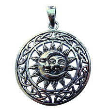 Sterling Silver (925)  Sun And Moon With Celtic Circle  Pendant  !!      New !!