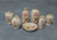 Dolls House Miniature 1/12th Scale Pink Rose and White Vase Set