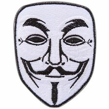 V for Vendetta Mask Movie Sew Embroidered Iron-On Patches Shirt Jacket #0154