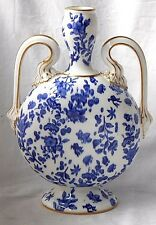 C19TH STAFFORDSHIRE TWIN HANDLED MOON VASE