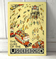 Vintage The Lure of the London Underground sign A4 metal plaque Shabby Chic
