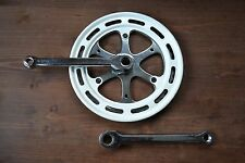 VINTAGE ANNI'80 THUN Chrome Crank Set SINGLE chainset COTTERED 170mm 46T bashguard