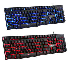 UK Mad Warrior GX50 3 Colors Backlit LED Ergonomic Usb Wired PC Gaming Keyboard