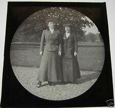 Glass Magic lantern slide TWO SERIOUS LOOKING EDWARDIAN LADIES C1910