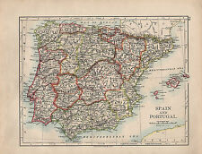 1901 VICTORIAN MAP ~ SPAIN & PORTUGAL BALEARIC ISLANDS ANDALUCIA CASTILE