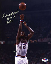 Moses Malone SIGNED 8x10 Photo + HOF 2001 Philadelphia 76ers PSA/DNA AUTOGRAPHED