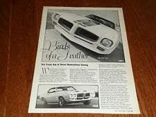 PONTIAC TRANS AM 1969, 1971, 1975, 1977, 1978, 1979, 1980 & 1982 ARTICLE / AD