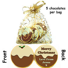 1 x bag of 5 Personalised CHRISTMAS PUDDING Belgian CHOCOLATE COINS gift present