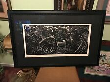 Jose Alicea Rare Woodblock Extra Large Print Cock Fighting Lorenzo Homar Framed