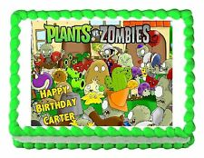 PLANTS VS. ZOMBIES edible party cake topper decoration frosting sheet