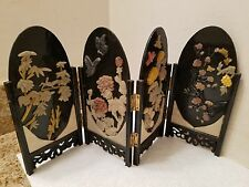 Vintage  Oriental Jade 4  Panel Miniature 16.5in by 8.5in Divider  Hand curved