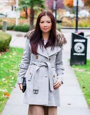 Andrew Marc Wool Cashmere Military Trench Coat Jacket Raccoon Fur Light Grey S/2
