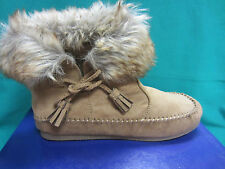 New Madden Girl Finn Moccasin Junior Size 6.5 Ankle Boots Brown Fur Textile $60