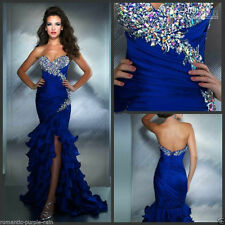 Royal blue beaded bridal dress Long Mermaid Prom Dresses Party Ball gown Pageant