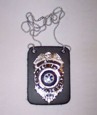 1) New - Black Leather Badge Shield Holder with Neck Chain - Police Fire EMS EMT