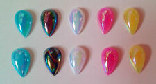 15 x AB multi colour stick on tear drop  13mm cabochon, embellishment flat back