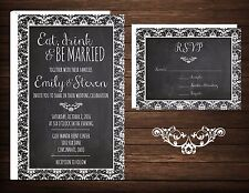 Wedding Invitations & RSVP Cards (50) Eat Drink & Be Married Damask Chalkboard