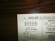 1967 Kaiser Jeep SIX J Series Models High Torque OHV 232 CI L6 Tune Up Chart