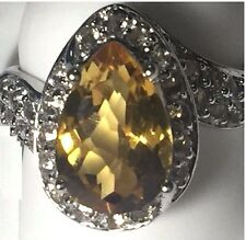Victoria Wieck 3.2ct Citrine  & White Topaz Sterling Silver Bypass Ring Sz 6,7,8
