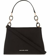 NWT MICHAEL KORS Portia Small Saffiano Leather Shoulder Black Bag