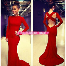 Women Sexy Long Sleeve  Backless Cocktail Formal Evening Party Ball Gown  Dress