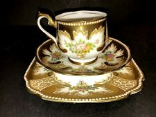 C1930's Royal Albert Crown China Hand Painted ROYALTY Trio Tea Cup & Saucer Set