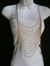 NEW WOMEN GOLD MULTI WAVES METAL BODY CHAIN JEWELRY LONG TRENDY VEGAS NECKLACE