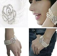 DICA Elegant Women 4 Layer Rose Flower Crystal Pearl Cuff Style Bangle Bracelet