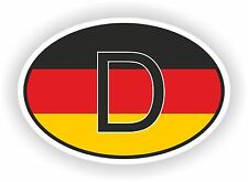 OVAL GERMAN FLAG WITH D COUNTRY CODE STICKER GERMANY MOTOCYCLE AUTO TRUCK LAPTOP