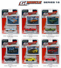 GREENLIGHT MUSCLE SERIES 16, SET OF 6 CARS 1/64 DIECAST CARS BY GREENLIGHT 13160