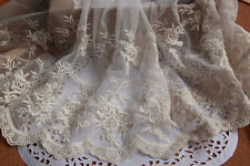 "1 Yards Lace Trim Beige Tulle Cotton Floral Embroidery Flower 9.44"" width"