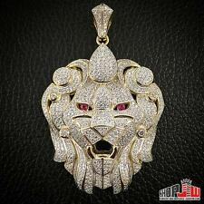 Mens Yellow Gold Finish .925 Silver Pendant Big Lion Head Face Abstract Design
