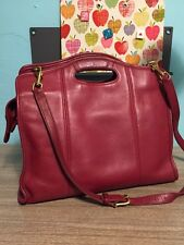 Coach Red Leather Briefcase Cut Out Handles