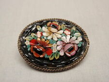 Italian Oval Micro Mosaic Pin Brooch Floral Black Ground Silver Italy Antique