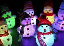 Crystal 'Ice Sculpture Effect' Colour-Changing LED Snowman Christmas Decoration