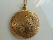 Lily Flower Gold Filled Locket Antique Art Nouveau & Gold Filled Chain Lily Pad