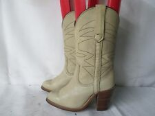 FRYE Cream Leather Cowboy Boots Size 5 B Made In The USA Style 8808