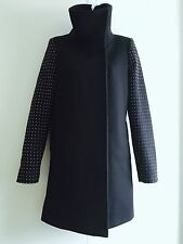 Zara Navy Wool Studded Sleeve Coat. Size Small (UK 10)