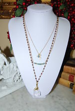 FANTASTIC NECKLACE OF MULTIPLE GOLD TONED CHAIN WITH CRYSTAL BEADS LARGE PENDANT