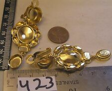 Bellini 67x26mm Gold P Clip on Rhinestone Dangle Earring Jewelry Repair Findings