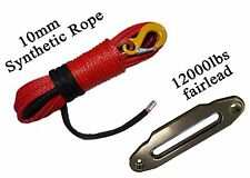 "Red 3/8""*150ft Synthetic Rope Warn with Fairlead,Kevlar Cable, ATV Winch Line"