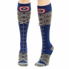 Marvel Comics Captain America Suit Lace Up Knee High Socks