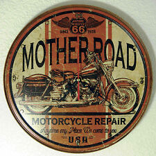 Route 66 Mother road motorcycle Sign Wall Clock, 11-3/4 Diameter - NEW