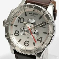NIXON A124-1113 A1241113 Watch Men 51-30 CHRONO LEATHER Silver Brown Authentic