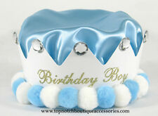 Boys Light Blue Rhinestone Birthday Crown One Size Solid Party Hat Accessories